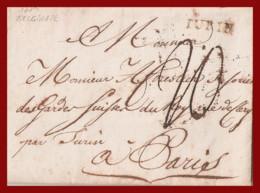 1785, Sardegna. Da Belgirate A Parigi Bollo TURIN - ...-1850 Voorfilatelie