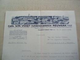 Ancien Tarif 1929 CARL WM0VOIGT-FARBENFABRIKEN+NEUWERK   NEUWERK/S/OELZE/S/THOR - 1900 – 1949