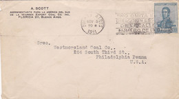 A SCOTT, WARREN EXPORT COAL CO. ARGENTINE ENVELOPPE CIRCULEE ANNEE 1921, BUENOS AIRES A PHILADELPHIA USA.- LILHU - Covers & Documents