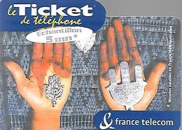 TICKET-TELEPHONE-PRIVE-FRANCE-TK-PU99-5Mn-MAINS De FATMA-Ex30/02/2002-NEUVE-TBE/RARE - Biglietti FT