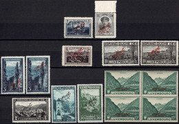 Luxembourg Luxemburg 1922/1927 Différents Timbres & Bloc OFFICIEL Rouge/Noir Neuf MNH** - Unused Stamps