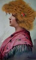 Cpa  ILLUSTRATEUR PORTRAIT DE FEMME , CHEVEUX REELS , PROFIL , BELLE COIFFURE  WOMAN REAL HAIR ADD ON  OLD PC A/S - Donne
