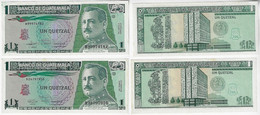 Banknote Guatemala 1 Quetzal 1991 / 1992 Pick-73b And Pick-73c Uncwith Slight Yellowish Spots (US$12) - Guatemala