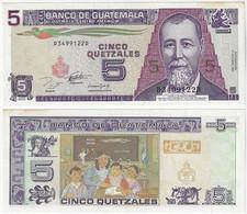 Banknote Guatemala 5 Quetzales 1993 Pick-88 Uncwith Slight Yellowish Spots (US$7,5) - Guatemala