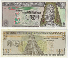 Banknote Guatemala ½ Quetzales 1989 Pick-72a UNC (US$6) - Guatemala