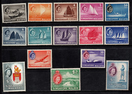 M061A - SINGAPORE-MALAYA - 1955 - SC#: 28-42 - MH (LOW VALUES) AND MNH HIGH 3 VALUES -QUEEN ELIZABETH AND SHIPS - Federation Of Malaya