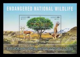 Georgia 2021 Mih. 749/50 (Bl.96) Europa. National Endangered Wildlife. Fauna. Goitered Gazelle And Imperial Eagle MNH ** - Georgia