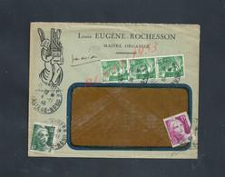 LETTRE COMMERCIALE ILLUSTRÉE SUR TIMBRES GANDON BANDE DE 3 , ROCHESSON MAITRE ORGANIER ( ORGUE ) À PONTOISE : - Lettres & Documents