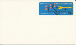 Post Card Prestamped Entier Postal 1970 100 Years Weather Services 100 Ans Services Météo  5 C Unused Neuf TBE - 1961-80