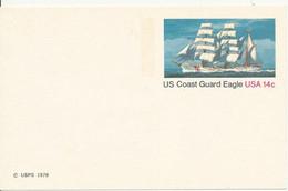 Prestamped Post Card Entier Postal 1978 US Coast Guard Eagle 14 C Unused Neuf TBE - 1961-80
