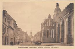 A102) COTTBUS - SANDOWERSTRASSE In Kottbus Mit Blick Auf Oberkirche Und Rathaus - ALT !! - Cottbus