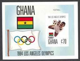 Ghana, 1984, Olympic Summer Games Los Angeles, Soccer, Football, MNH Imperforated, Michel Block 109B - Ghana (1957-...)