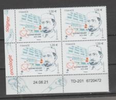 FRANCE / 2021 / Y&T N° 5525 ? ** : Gustave Roussy X 4 - Coin Daté 2021 08 24 TD-201 Avec N° De Feuille - 2010-....