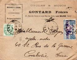 V7S Enveloppe Timbrée Exposition Paris 1925 Courrier Lettre 38 La Mure Gontard Machines à Coudre Cycles Et Motos - 1921-1960: Periodo Moderno