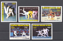 Congo Brazzaville, 1984, Olympic Summer Games Los Angeles, Judo, Wrestling, Fencing, MNH Imperforated, Michel 946-950B - Non Classés