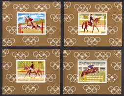 Central African Republic, 1983, Olympic Summer Games Los Angeles, Horse Jumping, MNH Deluxe Sheets, Michel 956-959 - Centrafricaine (République)