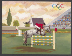 Central African Republic, 1983, Olympic Summer Games Los Angeles, Horse Jumping, MNH Imperforated, Michel Block 246B - Centrafricaine (République)