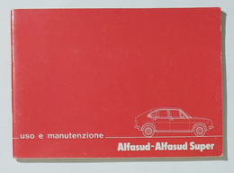 30909 Libretto Uso E Manutenzione - Alfa Alfasud Super - Motori
