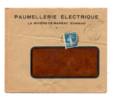 Lettre  Cachet  Mansac Sur Semeuse Entete Paumellerie Electrique - Matasellos Manuales