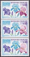 1597, Bande De 3, Fleur Rouge Foncé A Clair, Neuf - Varieties: 1960-69 Mint/hinged