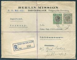1929 Tanganyika Berlin Mission, Registered Dar-Es-Salaam Cover - Wildemann. Goslar - Altenau Bahnpost - Tanganyika (...-1932)