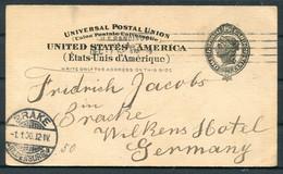 1899 USA Stationery Postcard San Francisco - Wilkens Hotel, Brake Germany (arrived 1st January 1900) - Covers & Documents