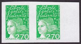 3091, Luquet 2,70 Fr, Paire Non Dentelée, Neuf, Signé Calvès - Variétés: 1990-99 Neufs