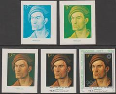 Yemen - Republic 1971 Munich Olympic Games - Paintings 3/4B Young Man By Durer Progressive Proofs Comprising 1, 2, 3, 4 - Yemen