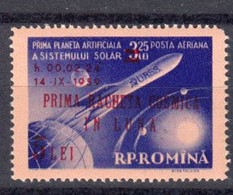 Roumanie 1959 Poste Aerienne Yvert 101 ** Neuf Sans Charniere Lunik II Surcharge En Rouge. - Nuevos