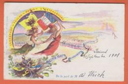 REIMS 1901-DUNKERQUE-COMPIEGNE-CRORSTADT-TOULON-PARIS-ST PETERSBOURG-Illustration Militaires-Femmes Drapeaux-PRECURSEUR - Patriotiques