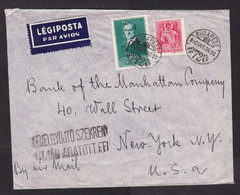 Hungary: Airmail Cover To USA, 1940, 2 Stamps, Perfin AM, Cancel 'Found In Letter Box'?, Air Label, Bank (minor Creases) - Lettres & Documents