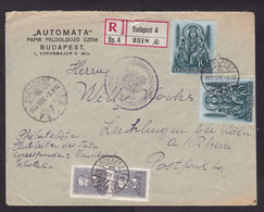 Hungary: Registered Cover To Germany, 1938, 4 Stamps, History, Religion (minor Damage) - Lettres & Documents