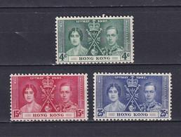 HONG KONG 1937, SG# 137-139, Coronation, MH - Unused Stamps