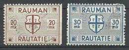 FINLAND FINNLAND 1945 RAUMA Railway Stamps 20 & 30 MK O - Paketmarken