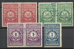 FINLAND FINNLAND 1918 Railway Packet Stamps O - Paketmarken