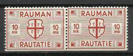 FINLAND FINNLAND 1945 RAUMA Railway Packet Stamp 10 MK As A Pair MNH - Paketmarken
