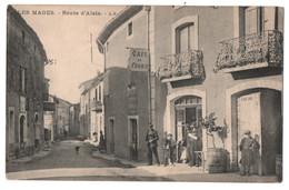 LES MAGES (30) : ROUTE D' ALAIS ( ALES ) - TABAC - CAFE DE FRANCE - PUB. CHOCOLAT MENIER - ECRITE EN 1914 - 2 SCANS - - Otros Municipios