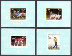 Niger, 1983, Olympic Summer Games Los Angeles, Athletics, MNH Deluxe Sheets, Michel 846-849B - Niger (1960-...)