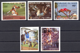 Niger, 1984, Olympic Summer Games Los Angeles, Athletics, MNH Imperforated, Michel 876-880B - Niger (1960-...)