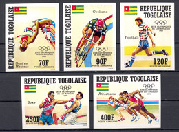 Togo, 1984, Olympic Summer Games Los Angeles, Boxing, Cycling, Soccer, Football, MNH Imperforated, Michel 1746-1750B - Togo (1960-...)