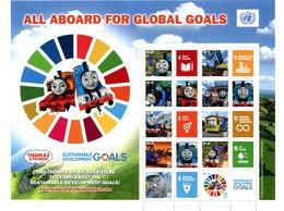 "ONU New-York 2018 - Feuille De Timbres Personnalisés ""All Aboard For Global Goals"" ** Dernière Feuille The Last One - Blocks & Kleinbögen"