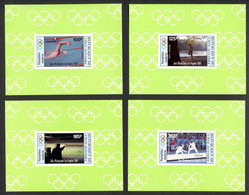 Ivory Coast, 1984, Olympic Summer Games Los Angeles, Sports, MNH Deluxe Sheets, Michel 812-815B - Côte D'Ivoire (1960-...)