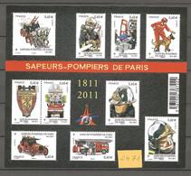 """2471–Bloc Feuillet N° 4582 """"Sapeur Pompiers De Paris"""" ** T.B. - Ongebruikt"""