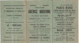 Saint Leu La Forêt (95) Petit Horaire Des Trains Vers Paris  Nord 1925 Pubs Commerces Rouot Domby Orsal Froment ... - Europa