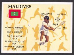 Maldives, 1989, Olympic Summer Games Seoul, Tennis, Overprinted, MNH Imperforated, Michel Block 148B - Maldives (...-1965)