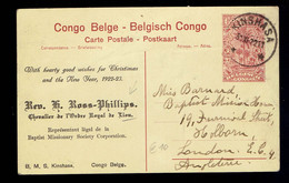 CP Vue 62 ( 30c ) Repiquage Rev. H. Ross Phillips( Mission Baptiste ) Kinshasa 30 XI 22 => London (U.K.) - Interi Postali