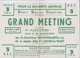 Forest-lez-Bruxelles Tract Politique Belgique Grand Meeting Parti Socialiste Chrétien PSC Elections Législatives 1949 - Documents Historiques