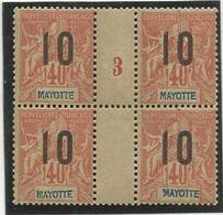 3    Luxe Sans Ch En Bloc De 4 Millésime 3     (clascamerou29) - Unused Stamps