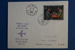 AC5 FRANCE BELLE LETTRE RECOM.  1962  PREMIER VOL    PARIS   HOUSTON USA +AEROPHILATELIE + AFFRANCHISSEMENT PLAISANT - 1960-.... Brieven & Documenten