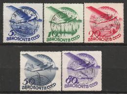 RUSSIE - PA N°41/5 Obl (1934) Monoplan Survolant Des Paysages - Usati